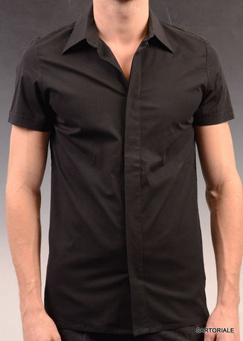 KARL LAGERFELD Solid Black Cotton Short Sleeve Casual Shirt US M NEW EU 48 - SARTORIALE - 1