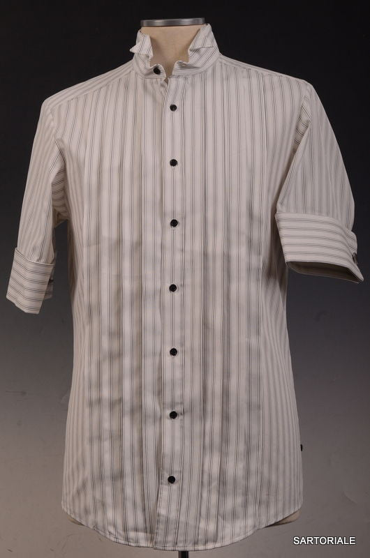 0bc405cd42 LES HOMMES White Cotton Short Sleeve Slim Fit Shirt US XS NEW EU 46 French  Cuff