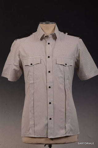 Les Hommes White Striped Short Sleeve Cotton Shirt S / 48 Leather Details Slim - SARTORIALE - 1