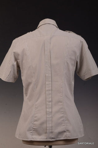 Les Hommes White Striped Short Sleeve Cotton Shirt S / 48 Leather Details Slim - SARTORIALE - 3