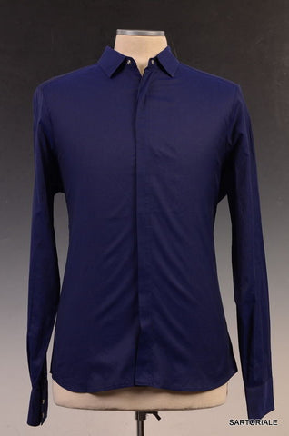 NEIL BARRETT  Blue Cotton Slim Fit See-Through Casual Shirt US S Size EU 48 - SARTORIALE - 1