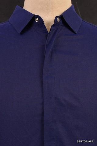 NEIL BARRETT  Blue Cotton Slim Fit See-Through Casual Shirt US S Size EU 48 - SARTORIALE - 2