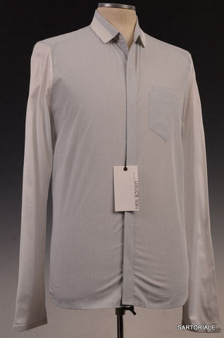 NEIL BARRETT Light Gray Striped Cotton Slim Fit Casual Shirt US 15.5 NEW EU 39 - SARTORIALE - 1