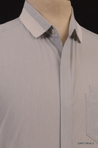 NEIL BARRETT Light Gray Striped Cotton Slim Fit Casual Shirt US 15.5 NEW EU 39 - SARTORIALE - 2