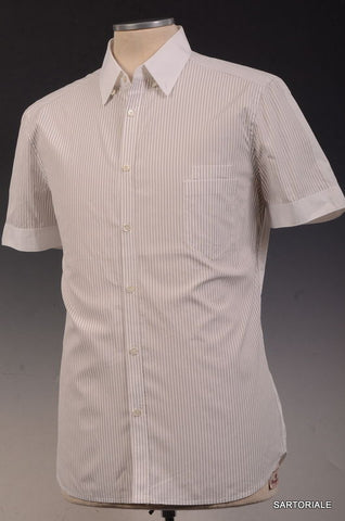 NEIL BARRETT White Striped Cotton Short Sleeve Casual Shirt US M Size EU 50 - SARTORIALE - 1