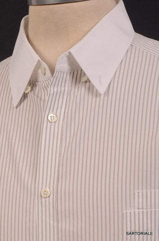 NEIL BARRETT White Striped Cotton Short Sleeve Casual Shirt US M Size EU 50 - SARTORIALE - 2