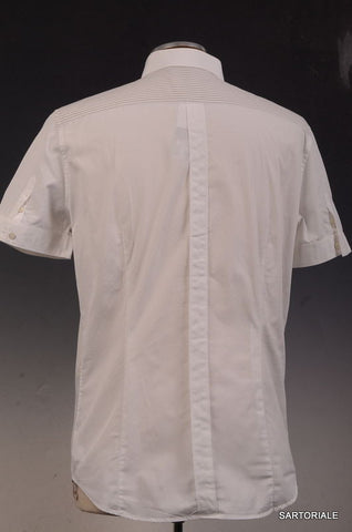 NEIL BARRETT White Striped Cotton Short Sleeve Casual Shirt US M Size EU 50 - SARTORIALE - 5