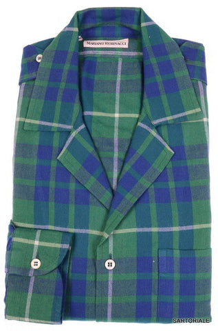 RUBINACCI Napoli Blue Green Plaid Tartan Wool Casual Shirt EU 40 NEW US 15.75 M - SARTORIALE - 1