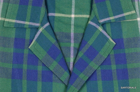 RUBINACCI Napoli Blue Green Plaid Tartan Wool Casual Shirt EU 40 NEW US 15.75 M - SARTORIALE - 2