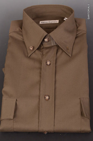 RUBINACCI Napoli Army Green Wool Button-Down Casual Shirt 50 NEW M Classic Fit - SARTORIALE - 1