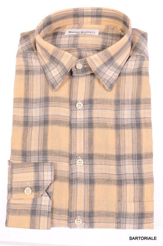 RUBINACCI Napoli Beige-Gray Plaid Linen Casual Shirt NEW Regular Fit - SARTORIALE - 1