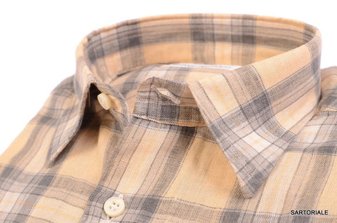 RUBINACCI Napoli Beige-Gray Plaid Linen Casual Shirt NEW Regular Fit - SARTORIALE - 2