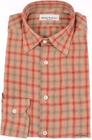 RUBINACCI Napoli Brown Red Plaid Linen Casual Shirt NEW Regular Fit - SARTORIALE - 1