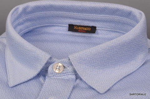 RUBINACCI Napoli Blue Geometric Cotton Causal Shirt NEW Classic Fit - SARTORIALE - 2