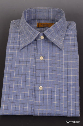 "RUBINACCI Napoli ""Blue Label"" Blue Plaid Cotton Shirt 40 NEW 15.75 Classic Fit - SARTORIALE - 1"