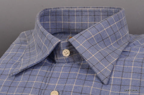 "RUBINACCI Napoli ""Blue Label"" Blue Plaid Cotton Shirt 40 NEW 15.75 Classic Fit - SARTORIALE - 2"