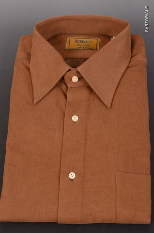 "RUBINACCI Napoli ""Blue Label"" Solid Brown Cotton Casual Shirt NEW Classic Fit - SARTORIALE - 1"