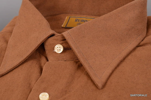 "RUBINACCI Napoli ""Blue Label"" Solid Brown Cotton Casual Shirt NEW Classic Fit - SARTORIALE - 2"