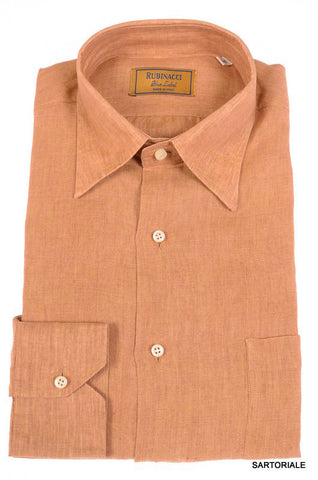 "RUBINACCI Napoli ""Blue Label"" Solid Brown Linen Casual Shirt 16 NEW 41 Classic - SARTORIALE - 1"