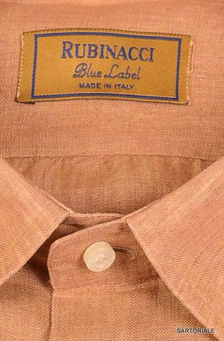 "RUBINACCI Napoli ""Blue Label"" Solid Brown Linen Casual Shirt 16 NEW 41 Classic - SARTORIALE - 2"