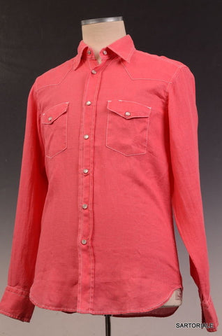 RUBINACCI Napoli Solid Coral Red Linen Western Shirt EU 50 NEW US M Regular Fit - SARTORIALE - 1