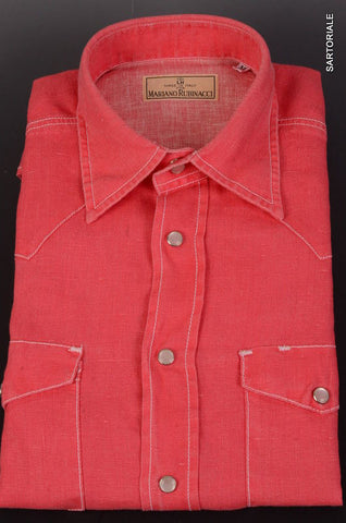 RUBINACCI Napoli Solid Coral Red Linen Western Shirt EU 50 NEW US M Regular Fit - SARTORIALE - 2