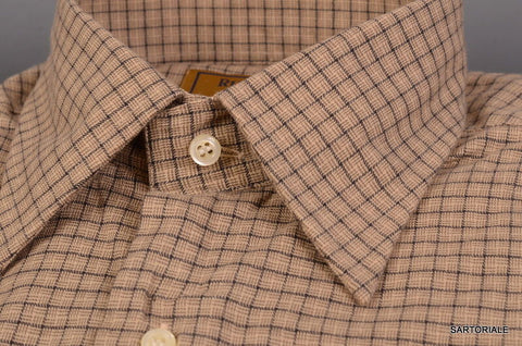 "RUBINACCI Napoli ""Blue Label"" Brown Plaid Cotton Casual Shirt 41 NEW 16 Classic - SARTORIALE - 2"
