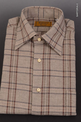 "RUBINACCI Napoli ""Blue Label"" Gray Plaid Cotton Casual Shirt 41 NEW 16 Classic - SARTORIALE - 1"