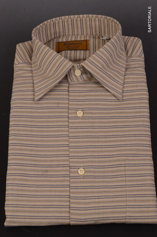 "RUBINACCI Napoli ""Blue Label"" Gray Striped Cotton Casual Shirt NEW Classic Fit - SARTORIALE - 1"