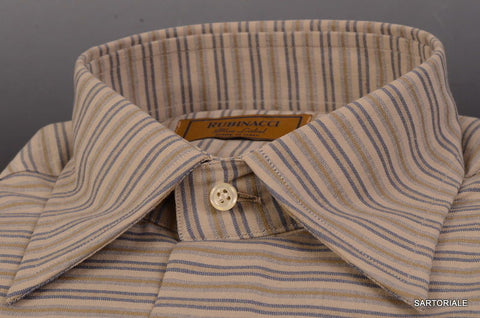 "RUBINACCI Napoli ""Blue Label"" Gray Striped Cotton Casual Shirt NEW Classic Fit - SARTORIALE - 2"