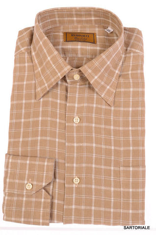 "RUBINACCI Napoli ""Blue Label"" Brown Plaid Linen Casual Shirt EU 42 NEW US 16.5 - SARTORIALE - 1"