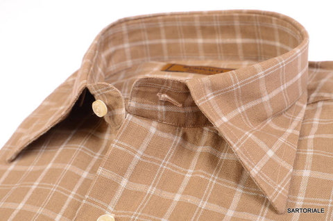"RUBINACCI Napoli ""Blue Label"" Brown Plaid Linen Casual Shirt EU 42 NEW US 16.5 - SARTORIALE - 2"