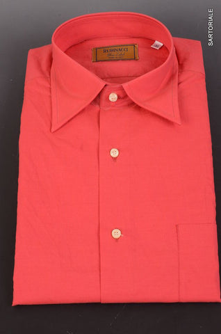 "RUBINACCI Napoli ""Blue Label"" Solid Red Cotton Casual Shirt NEW Regular Fit - SARTORIALE - 1"