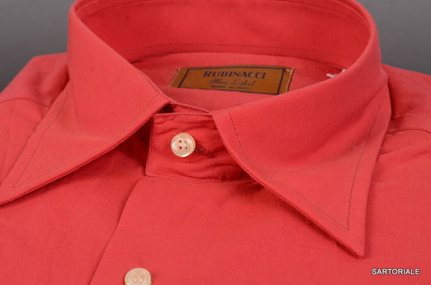 "RUBINACCI Napoli ""Blue Label"" Solid Red Cotton Casual Shirt NEW Regular Fit - SARTORIALE - 2"