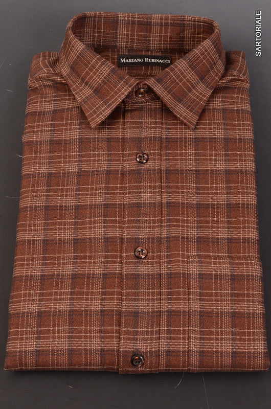 RUBINACCI Napoli Brown Plaid Cotton Casual Shirt NEW Classic Fit - SARTORIALE - 1