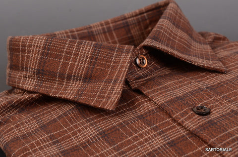 RUBINACCI Napoli Brown Plaid Cotton Casual Shirt NEW Classic Fit - SARTORIALE - 2