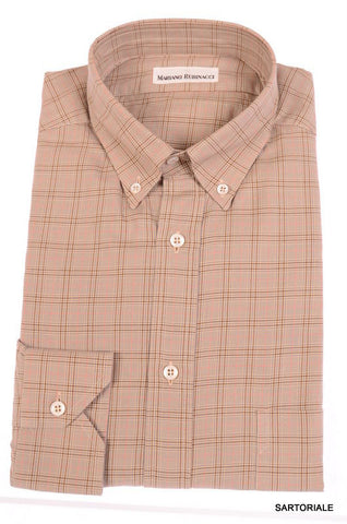 RUBINACCI Napoli Brown Plaid Cotton Button-Down Casual Shirt NEW Regular Fit - SARTORIALE - 1