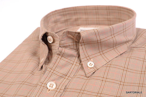 RUBINACCI Napoli Brown Plaid Cotton Button-Down Casual Shirt NEW Regular Fit - SARTORIALE - 2