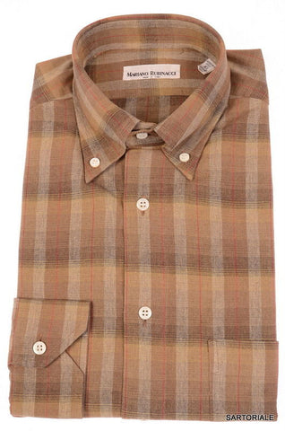 RUBINACCI Napoli Brown Plaid Cotton Button-Down Casual Shirt 40 NEW 15.75 M - SARTORIALE - 1