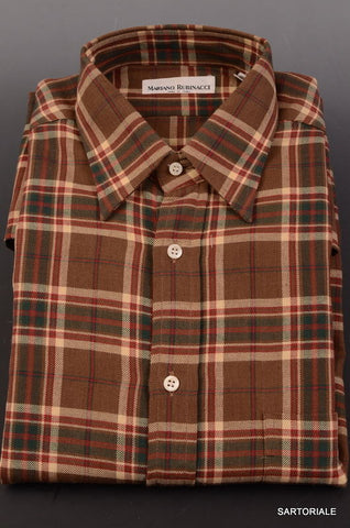 RUBINACCI Napoli Brown Plaid Cotton Casual Shirt EU 40 NEW US 15.75 Classic Fit - SARTORIALE - 1