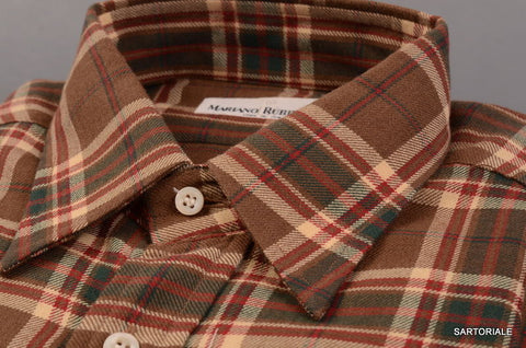 RUBINACCI Napoli Brown Plaid Cotton Casual Shirt EU 40 NEW US 15.75 Classic Fit - SARTORIALE - 2