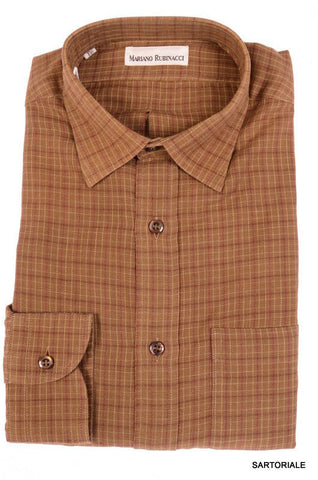 RUBINACCI Napoli Brown Plaid Cotton Casual Shirt NEW Slim Fit - SARTORIALE - 1