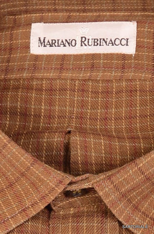 RUBINACCI Napoli Brown Plaid Cotton Casual Shirt NEW Slim Fit - SARTORIALE - 2