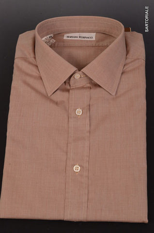 RUBINACCI Napoli Solid Brown Cotton Casual Shirt EU 43 NEW US 17 Regular Fit - SARTORIALE - 1