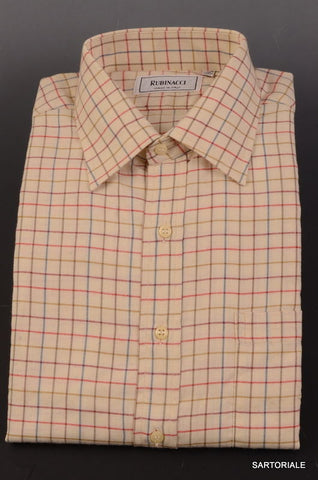RUBINACCI Napoli Cream Plaid Cotton Casual Shirt EU 40 NEW US 15.75 Classic Fit - SARTORIALE - 1