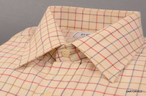 RUBINACCI Napoli Cream Plaid Cotton Casual Shirt EU 40 NEW US 15.75 Classic Fit - SARTORIALE - 2
