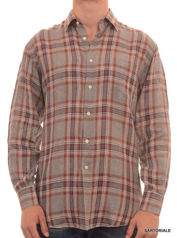 RUBINACCI Napoli Gray Plaid Linen Casual Shirt NEW Regular Fit - SARTORIALE - 5