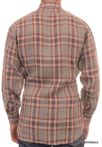 RUBINACCI Napoli Gray Plaid Linen Casual Shirt NEW Regular Fit - SARTORIALE - 6