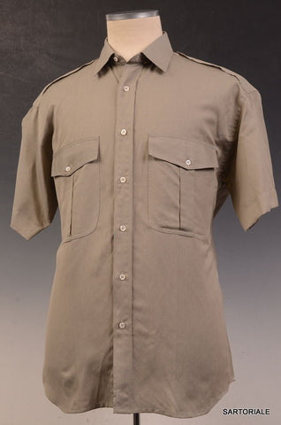 RUBINACCI Napoli Solid Gray Short Sleeve Military Shirt 39 NEW 15.5 Classic Fit - SARTORIALE - 1