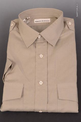 RUBINACCI Napoli Solid Gray Short Sleeve Military Shirt 39 NEW 15.5 Classic Fit - SARTORIALE - 2